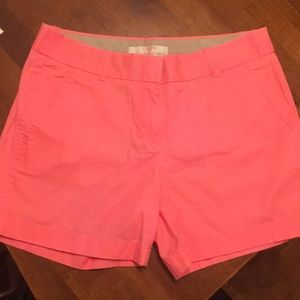 J Crew Chino shorts, bright coral, size 2
